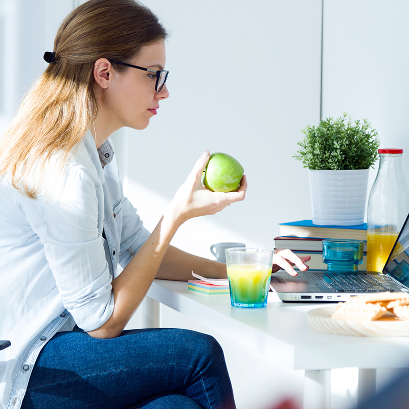 A photo of a person strudying nutrition.