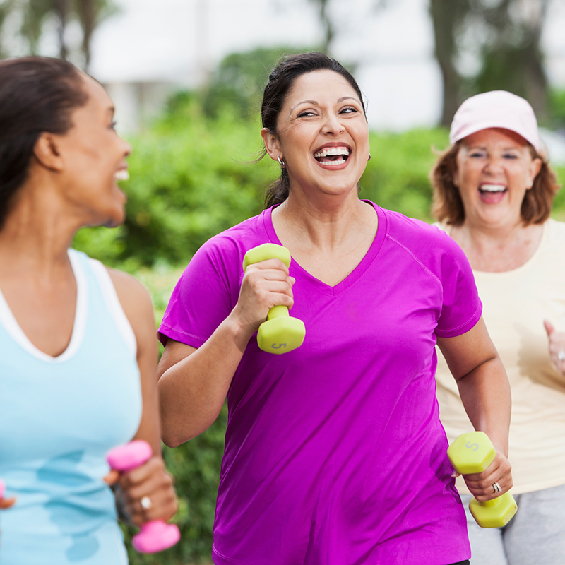 A photo of a community workout group.